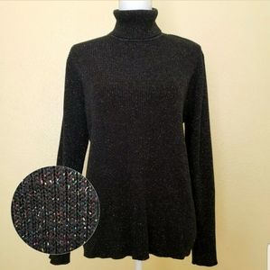 Karen Scott Glitter Turtleneck Sweater Black XL